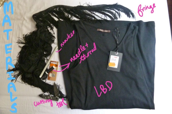 Materials diy lbd fringe sleeve