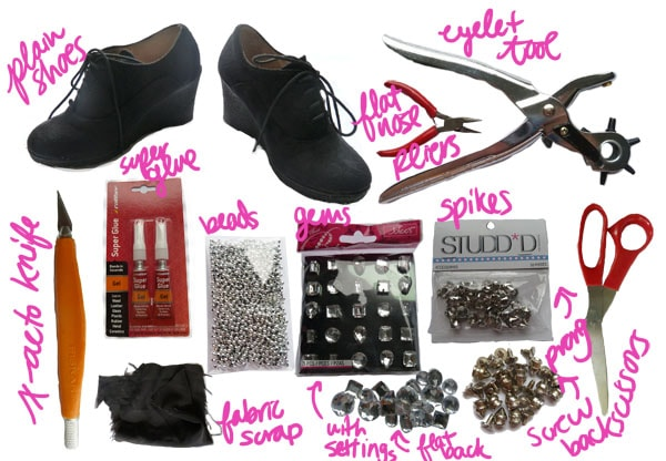 Materials DIY Spike Shoe