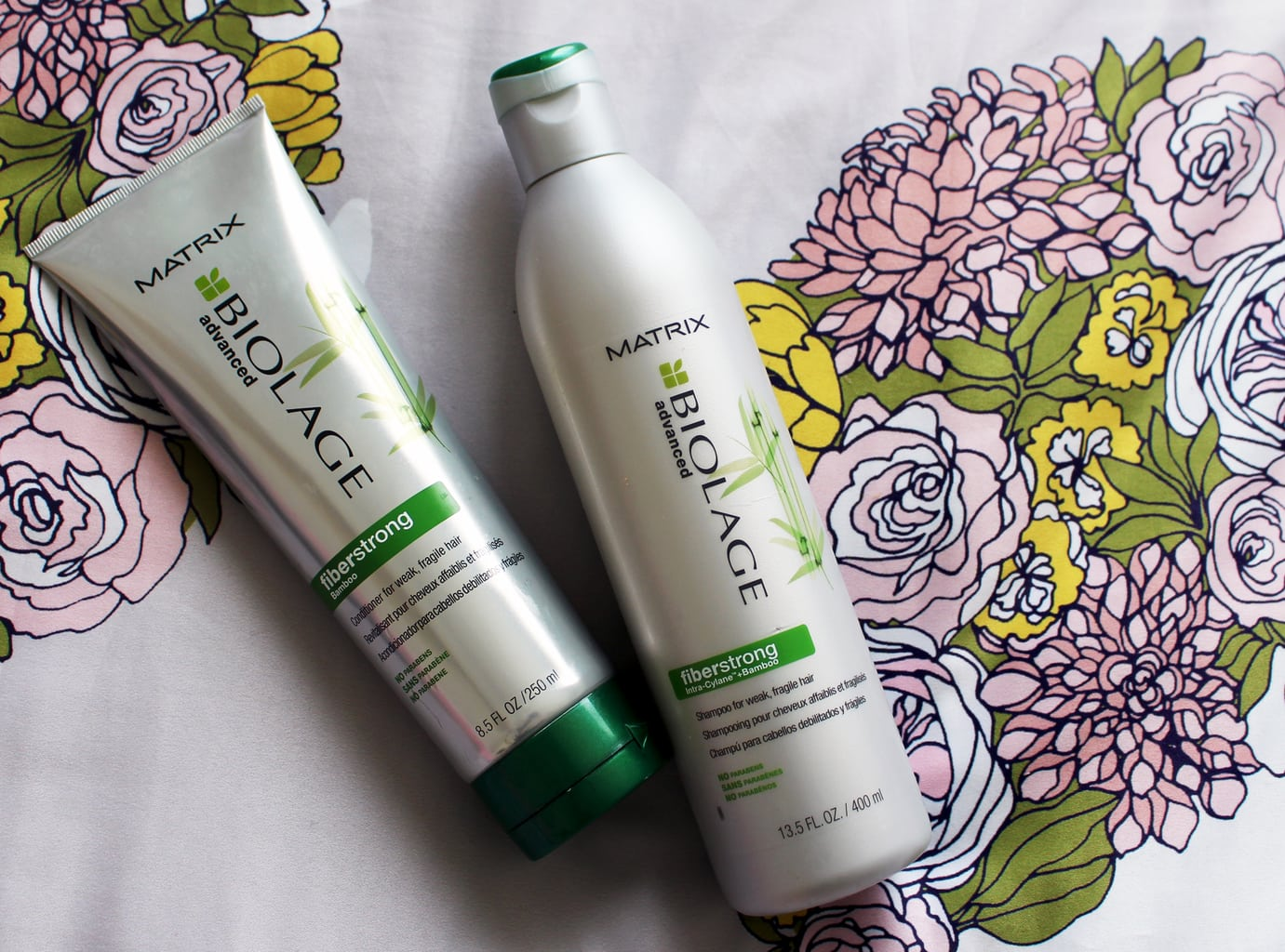 Matrix fiber strong shampoo and conditioner.