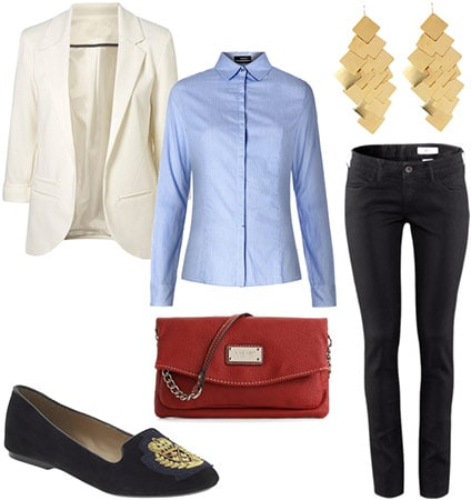 """""""The mature one"""" outfit - White blazer, black jeans, button-down shirt, small bag, earrings, smoking slippers"""