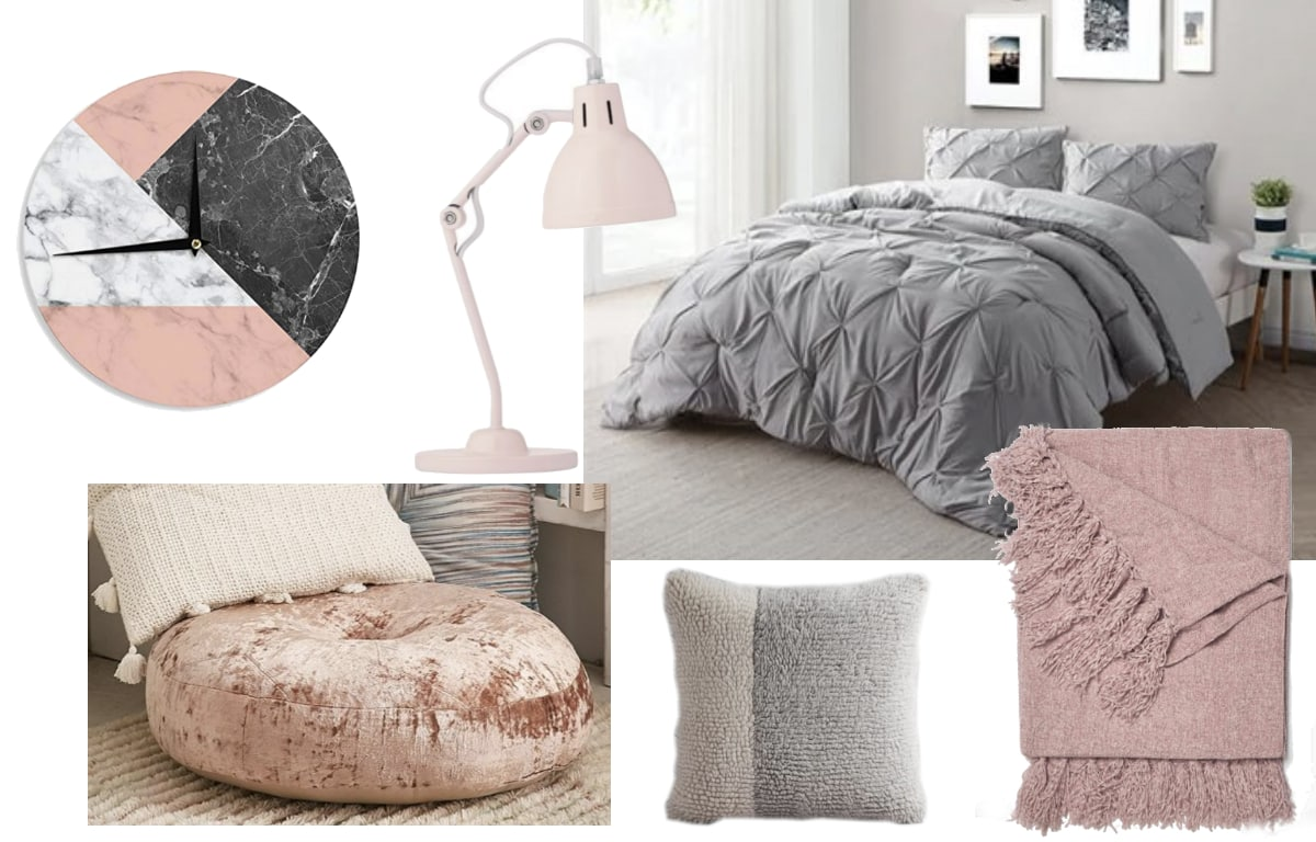 Calm mauve and grey dorm room inspiration shopping guide with pieces from Target, Amazon, and Urban Outfitters.