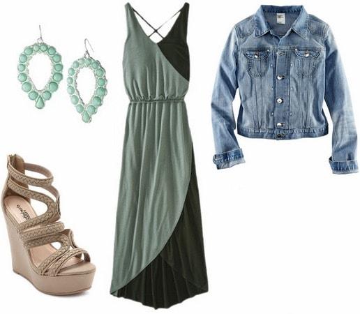 Maxi dress, denim jacket sandals