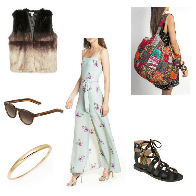 Outfit with floral maxi dress, ombre faux fur vest, tassel gladiator sandals, sunglasses, bangle, and big colorful tote