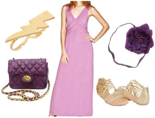 Purple maxi dress outfit