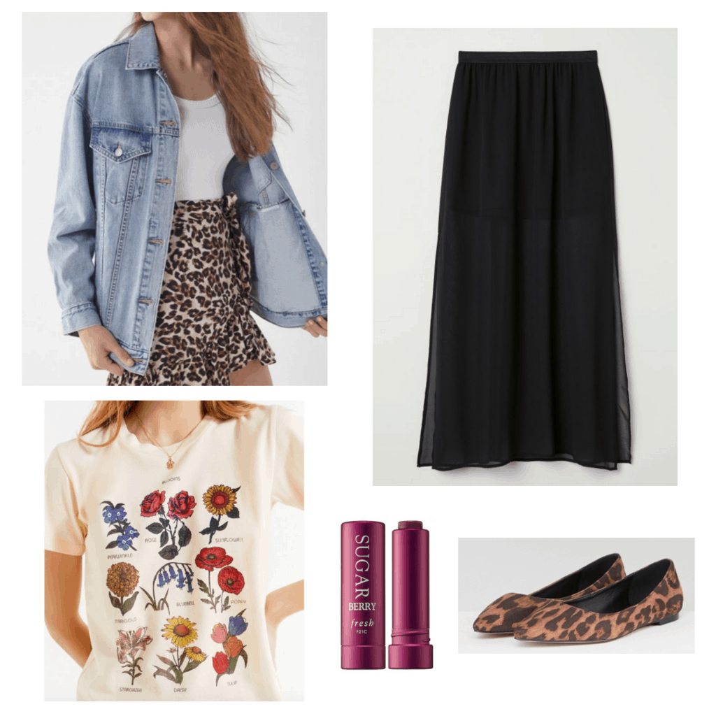denim jacket graphic t-shirt maxi skirt outfit