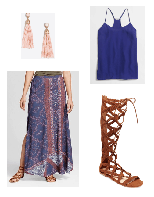Cute outfit idea for summer: Pink and blue patterned maxi skirt, royal blue cami, knee-high gladiator sandals, pink tassel earrings