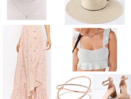 silver necklace, pink floral maxi skirt, floppy hat, grey crop top, rose gold bracelet, beige heels
