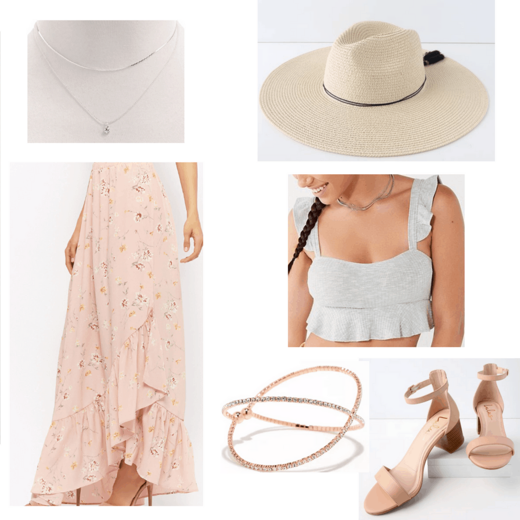silver necklace, pink floral maxi skirt, floppy hat, grey crop top, rose gold bracelet, beige heels