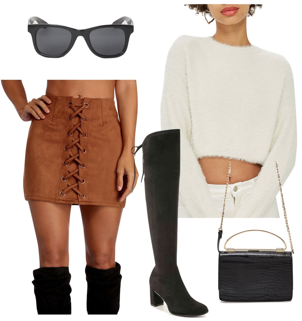Mayowa Nicholas Outfit: tan faux suede lace-up mini skirt, white fluffy cropped sweater, black sunglasses, black over-the-knee boots, and a black top handle bag