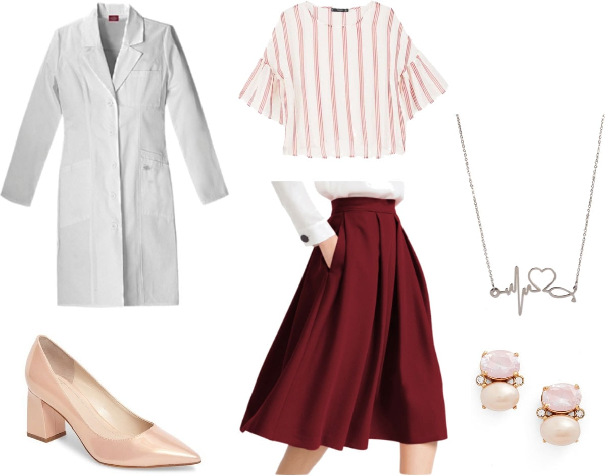 Medicine white coat outfit: Burgundy midi skirt, striped blouse, nude shiny pointed toe heels, medicine necklace, pearl earrings