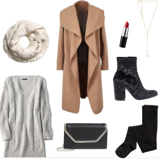 What to wear to dinner with a significant other's parents: Boyfriends parents meet the parents dinner outfit with gray sweater dress, camel coat, knit infinity scarf, velvet ankle booties, chain strap bag, tights, red lipstick, lariat necklace