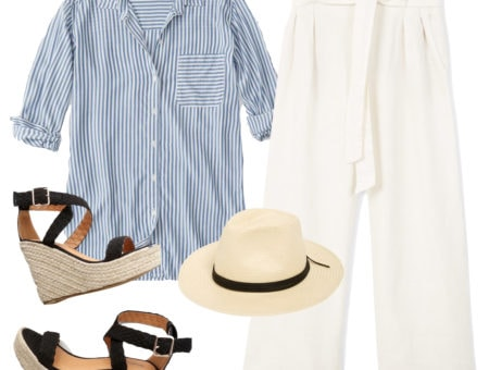 Meghan Markle Outfit: blue and white striped button down shirt, white linen high-waist wide leg pants, straw fedora hat, black espadrille wedges