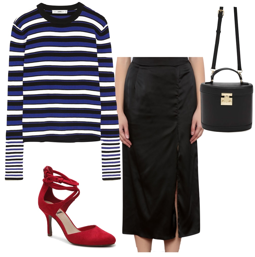 Melissa Benoit Outfit: multicolor striped sweater, black silk midi skirt with slit, red pumps, and a black crossbody bag with gold hardware
