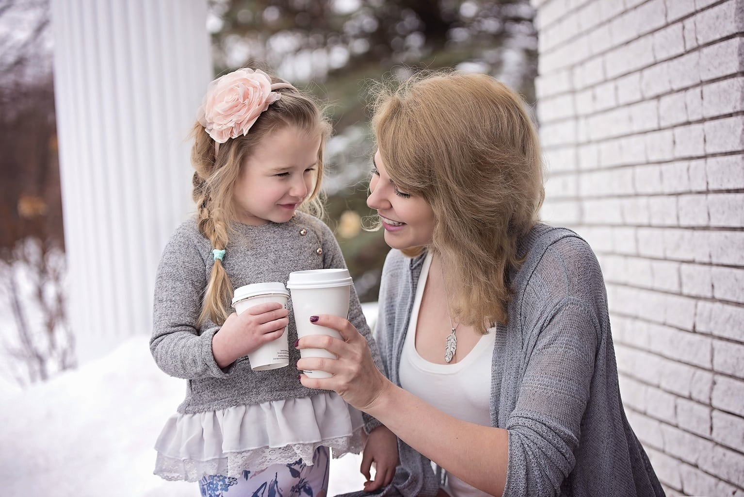 mother and daughter with coffee
