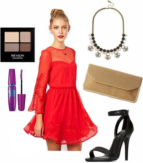 Mesh detailed dress, black heels, a gold clutch, and statement necklace