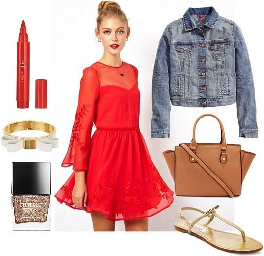 Mesh detailed dress, sandals, denim jacket, and a tan satchel