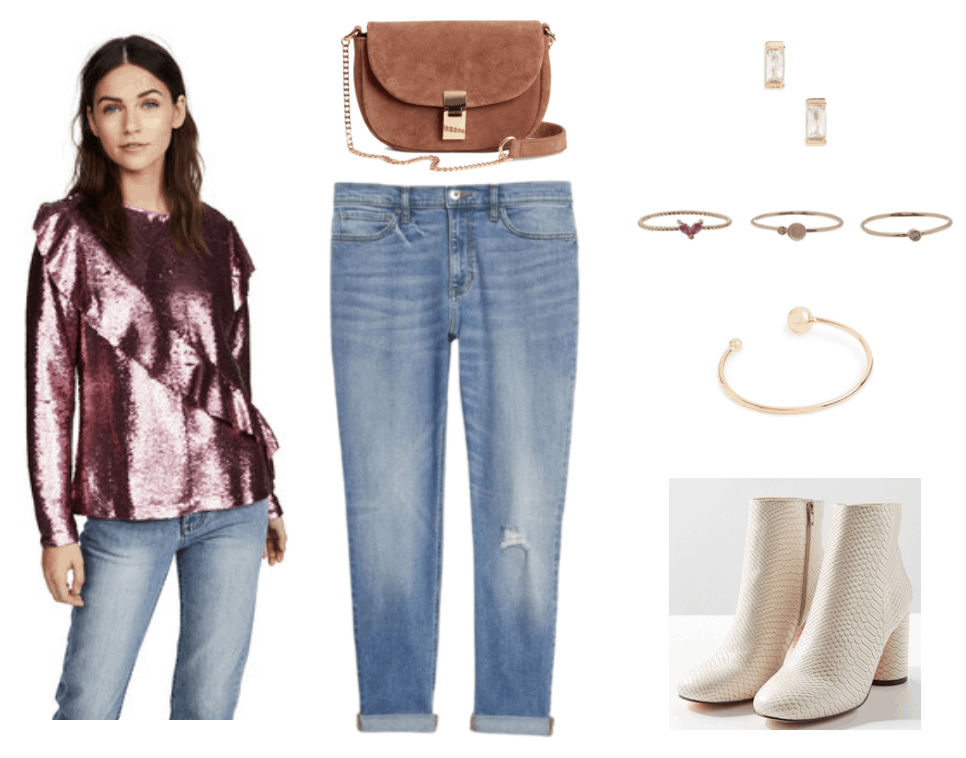 Pink metallic sequin long-sleeved top with diagonal ruffle, light brown cross-body bag with gold chain shoulder strap and clasp, light-wash boyfriend jeans with small rip at knee, gold baguette stud earrings with clear stones, thin twisted gold ring with dark pink heart-shaped stone, thin gold ring with round opal and smaller round clear stone, thin gold ring with small round clear stone, gold cuff bracelet with a larger gold ball at one end and a smaller one at teh other, off-white faux-snakeskin ankle boots with round heel and round toe