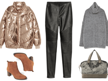Gold metallic puffer jacket with elasticized bottom, cognac-brown block-heel ankle boots, black faux leather motorcycle-detail leggings, oversized gray roll-neck sweater, oversized moss-green velvet weekender bag