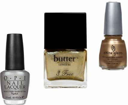 Glittery metallic nail polish