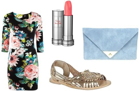How to wear metallic sandals with a floral long sleeve mini dress, light blue clutch, and lipstick for a night out
