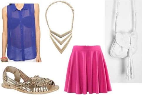 How to wear metallic sandals with a hot pink skirt, sheer blue sleeveless blouse, necklace, and white cross-body bag