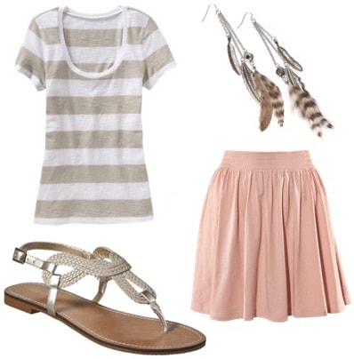 How to wear metallic sandals with a pink skirt and tee shirt