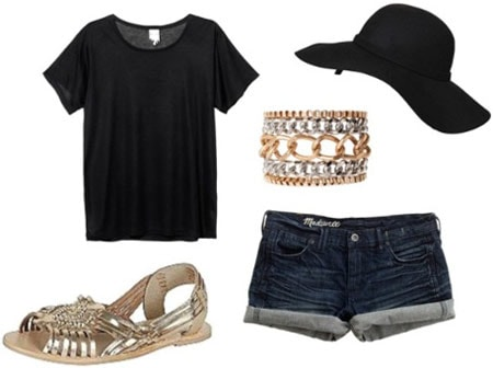 How to wear metallic sandals with a basic black tee shirt, cutoff denim shorts, a floppy sun hat, and a bracelet for daytime