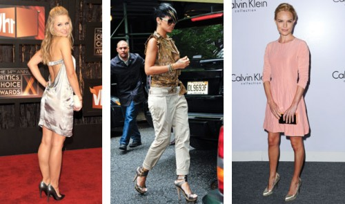 Kristen Bell, Rihanna, and Kate Bosworth in metallic shoes