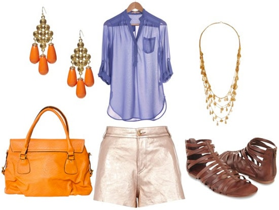 how to wear metallic shorts for day with sheer lilac blouse brown gladiator sandals orange bag orange chandelier earrings and gold layered necklace