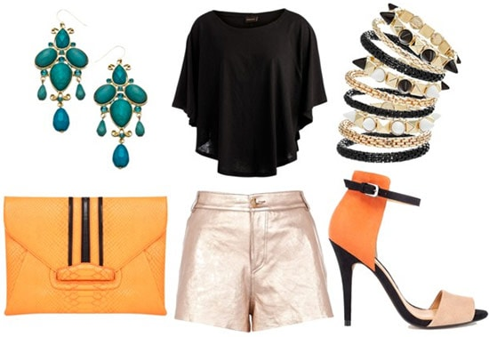 how to wear metallic shorts for night with black oversized crop top spiked bangles orange sandals orange clutch and turquoise dangle earrings