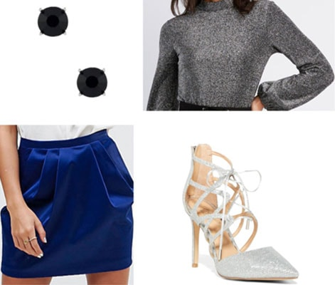 Outfit idea for New Year's Eve: Metallic top, satin skirt, silver heels, black stud earrings