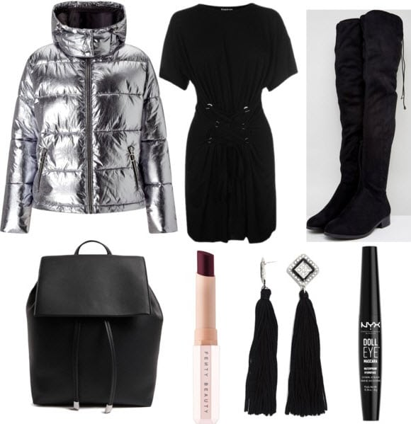 Silver metallic puffer with black corset dress, black over the knee boots, black backpack, Griselda lipstick, black tassel earrings, and black mascara.