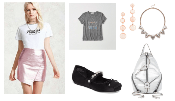 Metallic skirt outfit for class: Pink metallic wrap skirt with gray graphic tee, black mary jane flats with pearl detail, drop earrings, statement necklace, silver metallic zip backpack