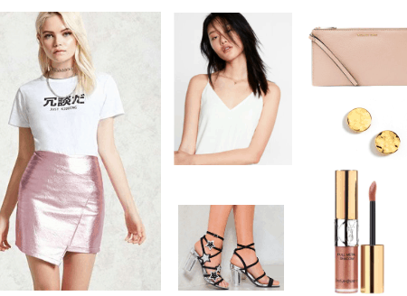 Metallic skirt outfit for night out: Pink metallic wrap skirt with white v-neck tank, black wrap sandals with clear heels and glitter stars, nude liquid lipstick, round gold necklace, rose pink clutch
