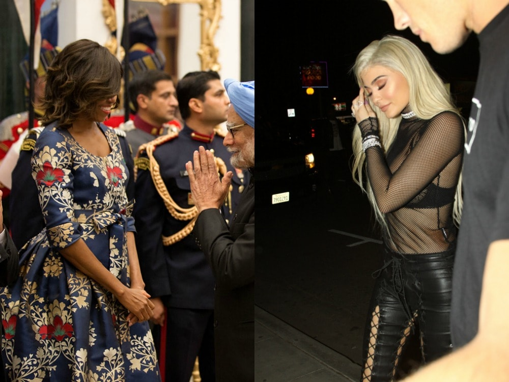 Michelle Obama in a blue and red floral dress, Kylie Jenner in a black bra and mesh top