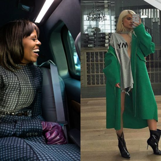 Michelle Obama in a blue coat and purple gloves at the inauguration, Kylie Jenner in a green coat and gray tee