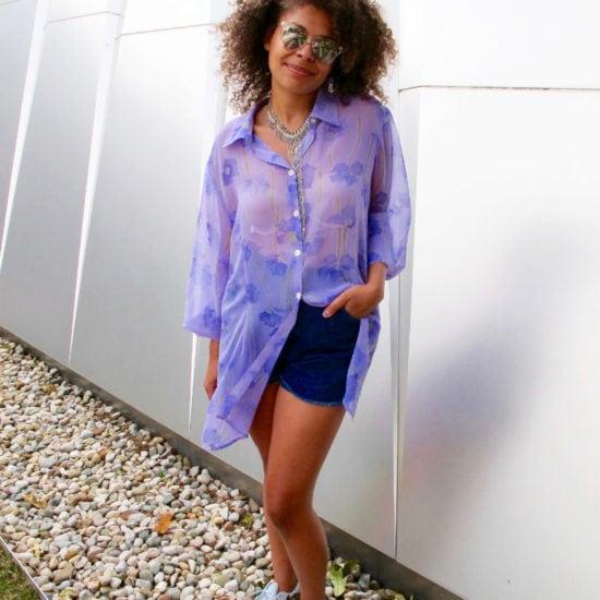 Fashion at Michigan State University - sheer blouse, shorts, sneakers, sunglasses
