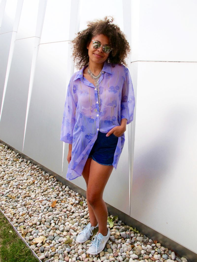 Fashion at Michigan State University - sheer blouse, shorts, sneakers, sunglasses