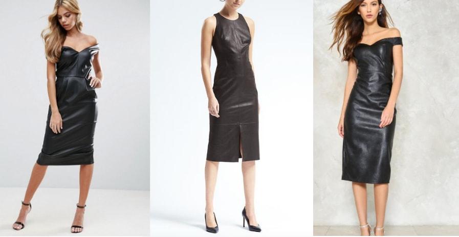 Leather midi dress trend