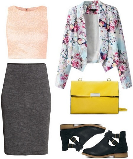 Midi skirt and crop top outfit