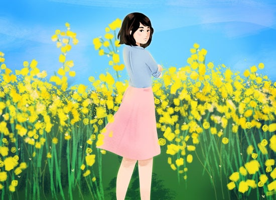 Midi skirt girl in spring flowers by Stacey Abidi