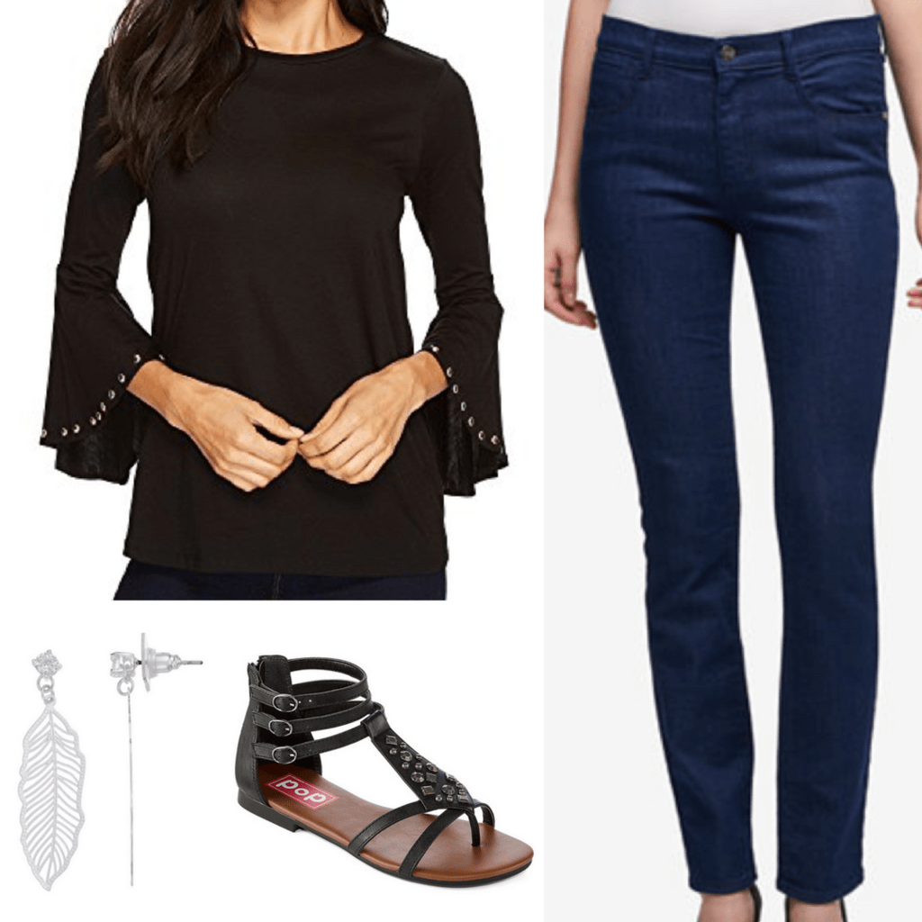 black studded tunic indigo jeans silver feather earrings black strappy sandals outfit