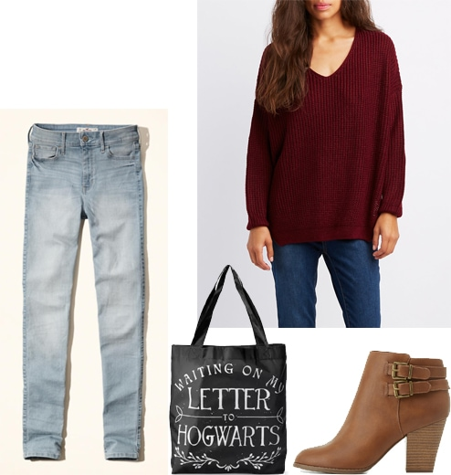 Outfits for midterms: Skinny jeans, Hogwarts tote bag, oversized burgundy sweater, brown ankle boots