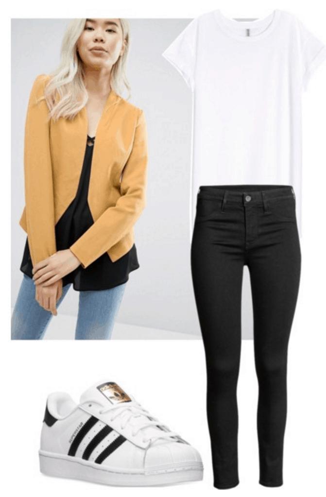 Yellow blazer, t-shirt, jeans, sneakers.