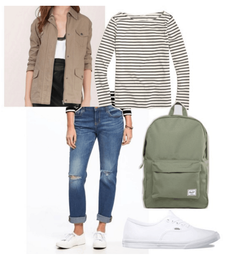 Jacket, jeans, striped shirt