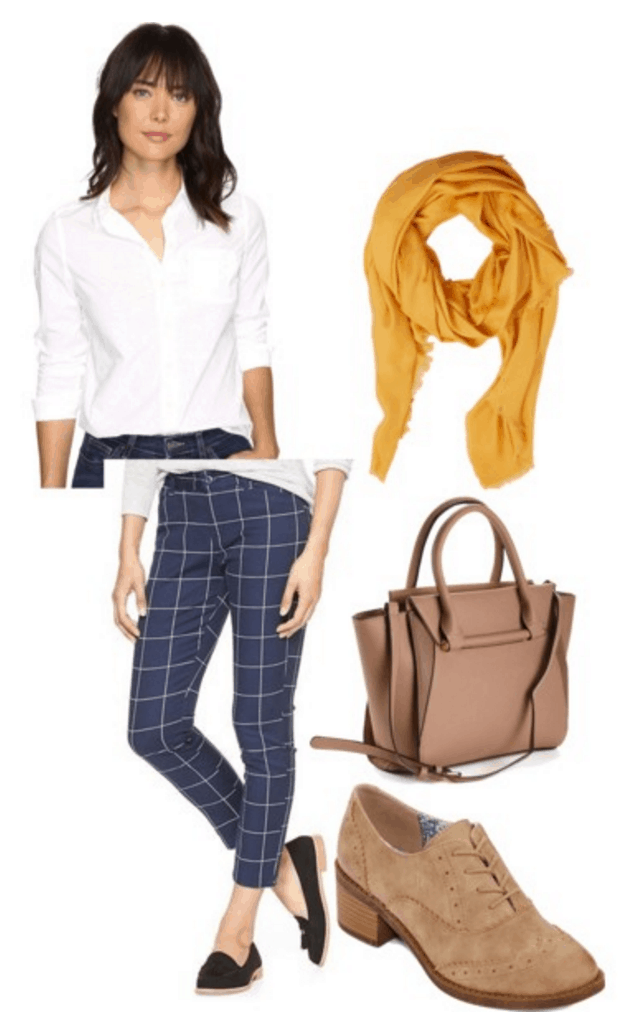 Button down, scarf, tailored pants.