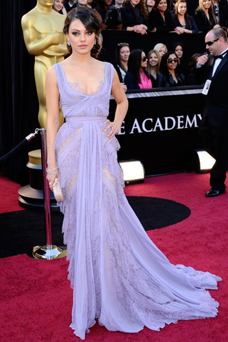 Mila Kunis in a lavender Elie Saab gown on the 2011 Oscars red carpet