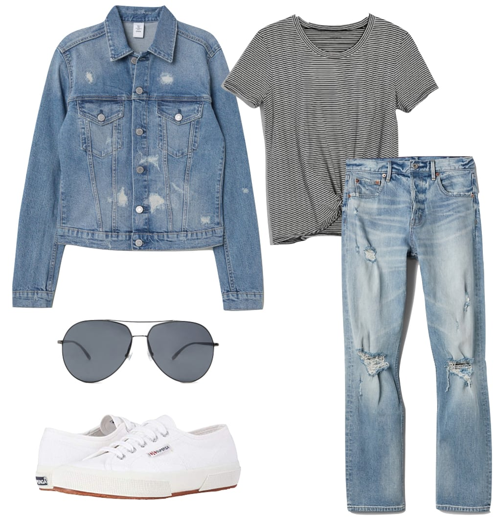 Mila Kunis Outfit: denim jacket, black and white t-shirt, ripped straight leg jeans, aviator sunglasses, white low top sneakers