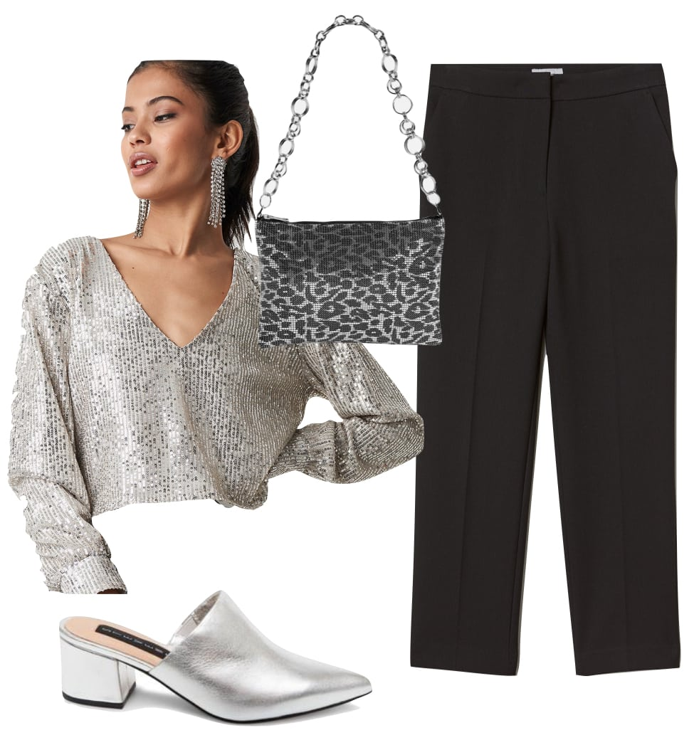Miley Cyrus Outfit: silver metallic sequin top, black trouser pants, silver leopard print shoulder bag, silver pointy toe mules