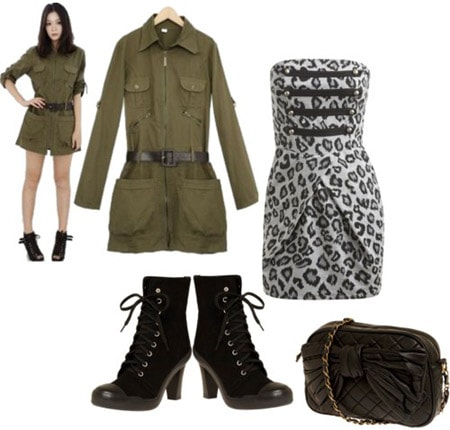 A night out outfit incorporating the military fashion trend